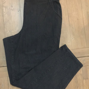 Plus 2X 18W 20W Black Denim Stretch Stripe Pattern